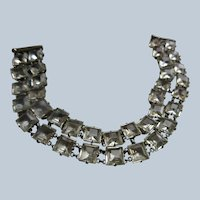 Vintage Open Back Crystal Chicklets Bracelet
