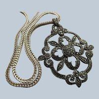 Vintage Sterling Silver Marcasite Necklace Statement Necklace