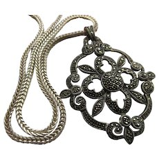 Vintage Sterling Silver Marcasite Necklace Statement Necklace
