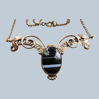 Older Vintage Banded Agate Lavaliere Necklace in Gold Fill Hallmarked