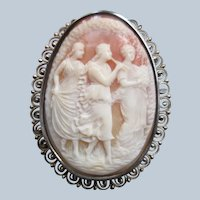 Vintage Carved Shell Cameo Pin Pendant  The Three Muses