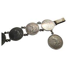 Older Vintage 1920s 1930s Belgie Coin Charm Bracelet
