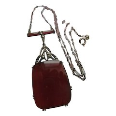 Vintage Circa 1920 Sterling Carnelian Marcasite Necklace