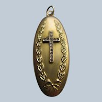 Antique Religious Paste Locket Inscribed To Geneviere - Gold Fill Antique Picture Locket