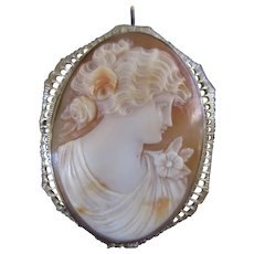 Antique Circa 1920 Carved Shell Cameo in 10K White Gold Pin Pendant