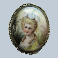 Antique Portrait Pin With Hand Painting