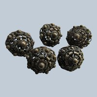 Older Vintage 800 Silver Buttons Set of 5 Buttons