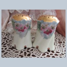 Early 1900s Hand Painted Pink Roses Porcelain Salt and Pepper Shakers