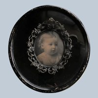 Old Black Frame with Inset Silver Toned Framed Baby Photo