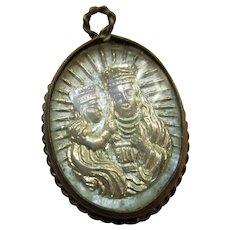Saint Anne De Beaupre Glass Reverse Painted Bubble Charm Religious Medal