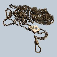 Antique Victorian Long Slide Watch Chain Necklace  Opal and Seed Pearl