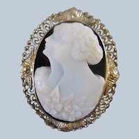 Vintage Art Deco Era 14K Black and White Cameo Double Silhouette