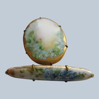 Victorian Hand Painted Porcelain For Get Me Not Pins