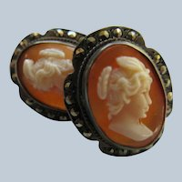 Vintage Carved Shell Cameo Screw Back Earrings 800 Silver  Psyche