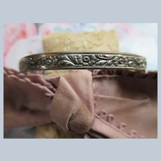 Vintage Danecraft Sterling Floral Bangle Bracelet