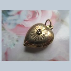 Older Vintage Puffy Heart Charm in Gold Fill