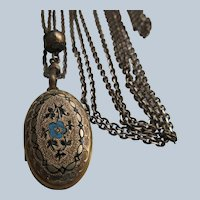 Antique Victorian Watch Chain Necklace with Enameled Pendant