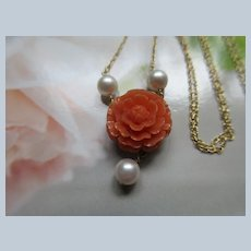 14K Gold Cultured Pearl Necklace with Antique Carved Coral Flower Drop