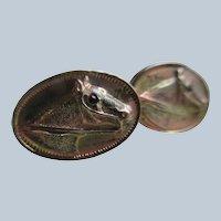 Antique Repousse Horse Cuff Links