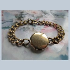 Antique Curbed Link Locket Bracelet in Gold Fill