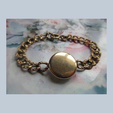 Antique Curbed Link Locket Bracelet in Gold Fill
