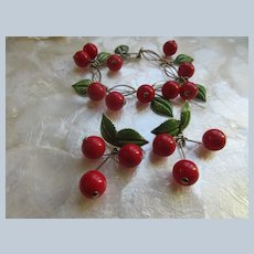 Vintage Enameled Cherries Bracelet and Clip On Earrings  Early Plastics