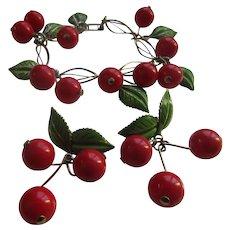 Vintage Enameled Cherries Bracelet and Clip On Earrings  Early Plastics