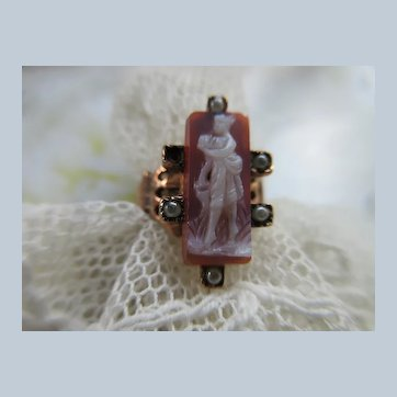 Victorian Antique 10K Carved Cameo Ring with Seed Pearl Accents - 19th Century Gold Ring