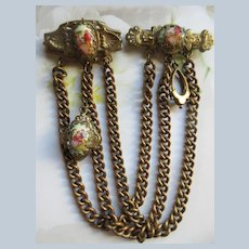 Vintage 1940s Karu Victorian Revival Chatelaine Double Brooch PIn
