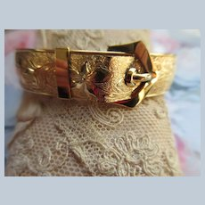 Victorian Antique Gold Fill Buckle Bangle Bracelet signed F.M. Co