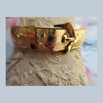 Victorian Antique Gold Fill Buckle Bangle Bracelet signed F.M. Co