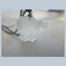 Vintage Czech Frosted Glass Cat Charm Necklace