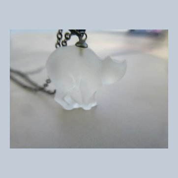 Vintage Czech Frosted Glass Cat Charm Necklace