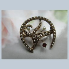 Antique 14K Jeweled Horse Shoe Pin with Seed Pearl Embellishments