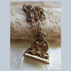 Antique Victorian Wax Seal Fob Necklace