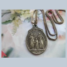 Older Vintage Religious Medal Necklace The Holy Family