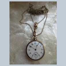 Antique Long Ladies Watch Chain Slide Necklace with Pocket Watch Pendant TLC - Steampunk Project Watch Not Working