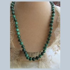 Vintage Carved Malachite Beaded Necklace