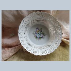 Vintage Cluj Napoca Romania Porcelain Bowl - Basket Lace Wear