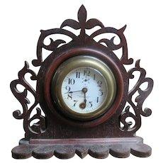 Victorian Mantle Clock in Fancy Cut Out Wood Case