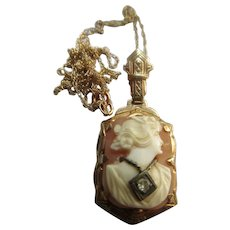 Older Vintage Circa 1930 Carved Shell Cameo Habille Necklace 10K Cameo