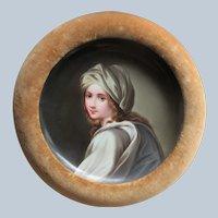 Antique Framed Portrait Plate in Velvet Frame