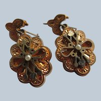 Antique Victorian Gold Fill Pierced Earrings