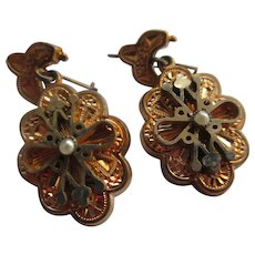Antique Victorian Gold Fill Pierced Earrings