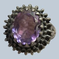 Vintage Sterling Silver Purple Stone Ring Size 6.5