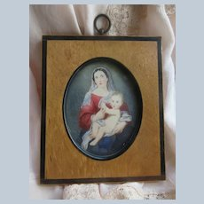 Vintage Hand Painted Madonna and Child in Wood Frame