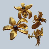 Vintage Orchid Scatter Pins and Screw Back Earrings Set with Makers Mark BN