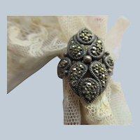 Vintage Sterling Marcasite Ring Size 10