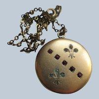 Antique Fleur Di Lis Paste Locket Necklace