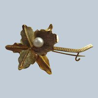 18K Gold Orchid Brooch with Cultured Pearl Accent